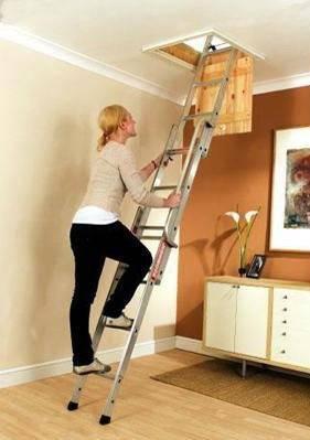 Алюминиевая лестница для чердачного помещения