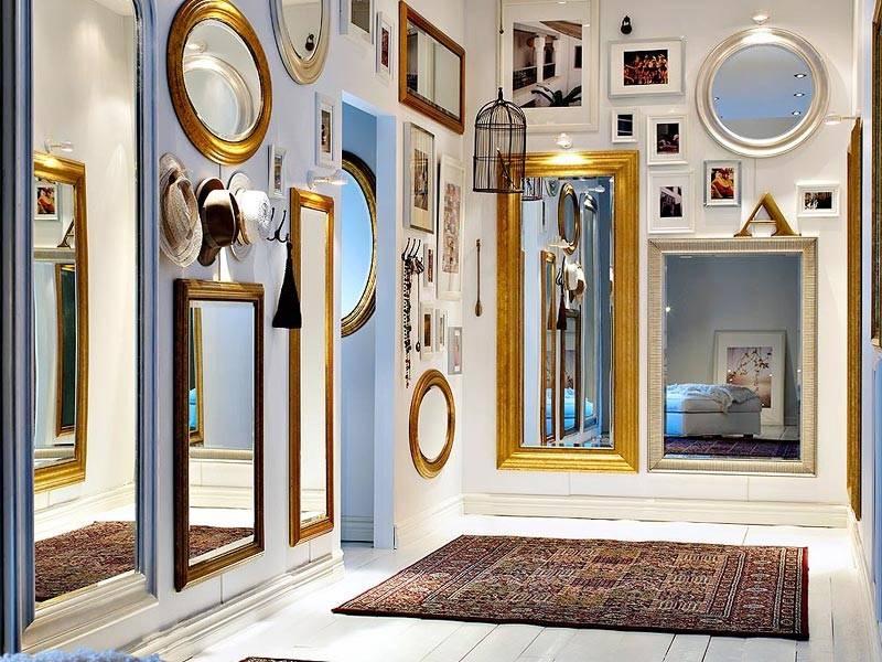 Дизайн прихожей с зеркалами: выбор зеркала, планировка - 75 фото