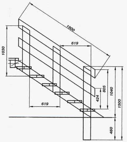 Чертеж лестницы на второй этаж на тетивах (размеры в мм)