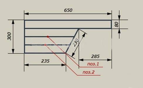 Чертеж ступеньки к лестнице «Утиная походка» (размеры определяются по месту)
