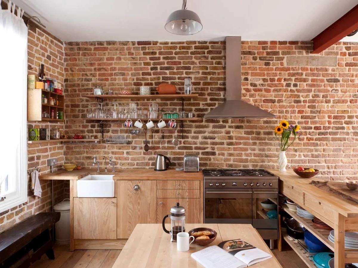 Как использовать кирпич в интерьере кухни