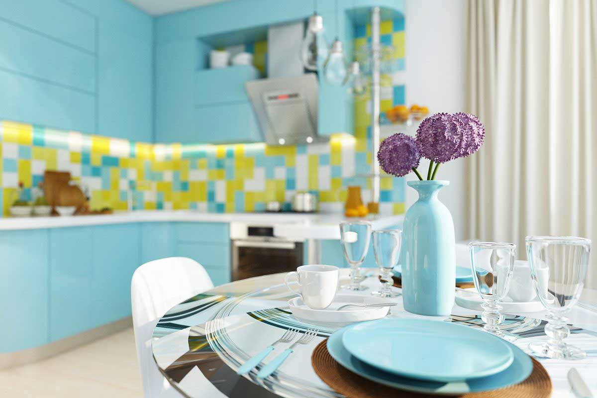 Дизайн кухни в бирюзовом цвете, сочетание с другими тонами, отделка и аксессуары