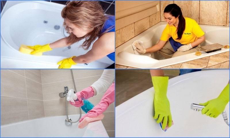 Чем мыть акриловую ванну в домашних условиях: топ 5 способов чем чистить, какие использовать щетки и губки