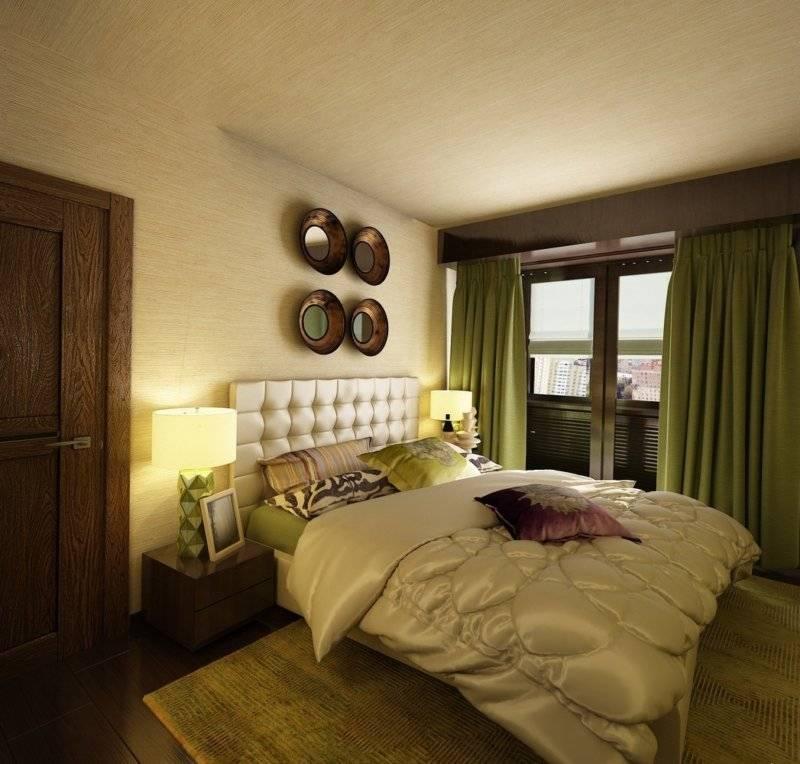 год дизайн спальни в зеленых коричнево белых тонах фото есть маленький