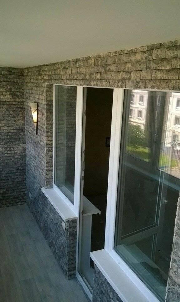Фото ремонт из декоративного камня на балконе