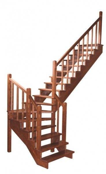 Деревянная легкая и надежная угловая лестничная конструкция