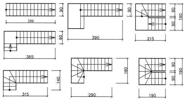 Доступные размеры, которые применяются на определенных конструкциях, в зависимости от назначения