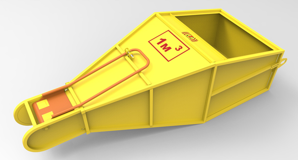 """Бадья для бетона """"туфелька"""" 1 м.куб. 3 мм  рычажный привод . продажа бункеров для бетона. купить с доставкой по россии"""