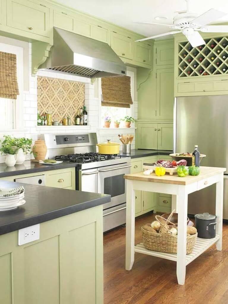 Советы и фото по оформлению кухни фисташкового цвета