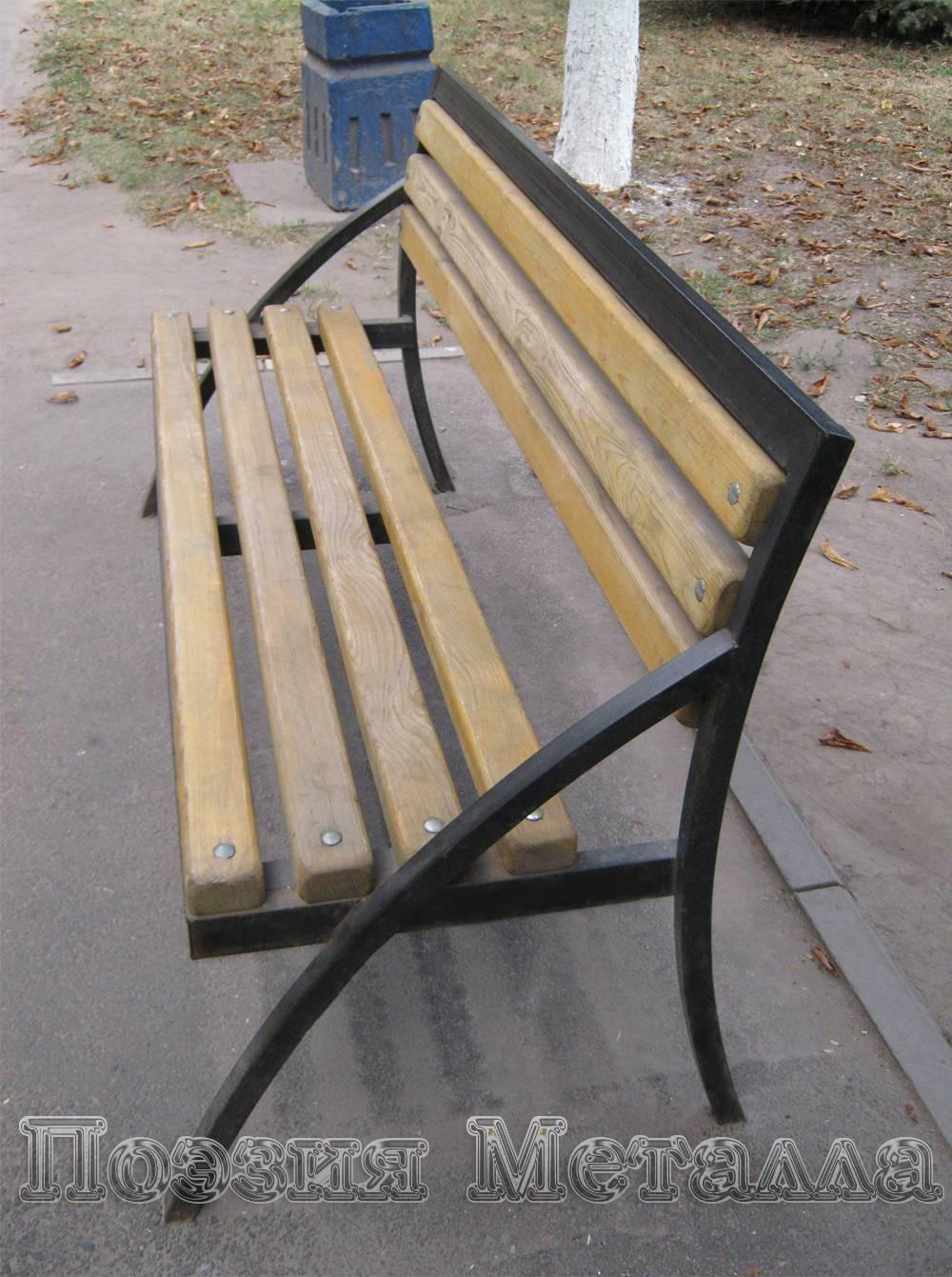 Самодельные металлическая скамья фото