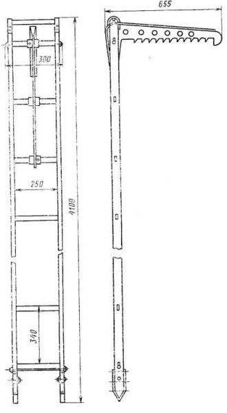 Эскиз штурмовой лестницы с указанием основных размеров.