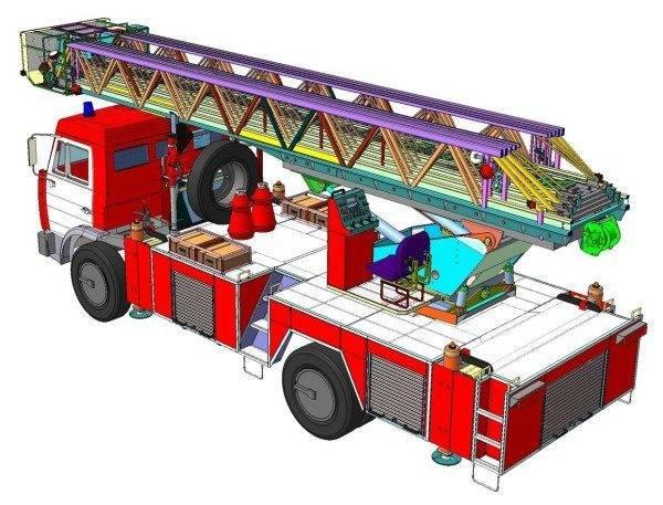 Эскиз задней части пожарной автолестницы