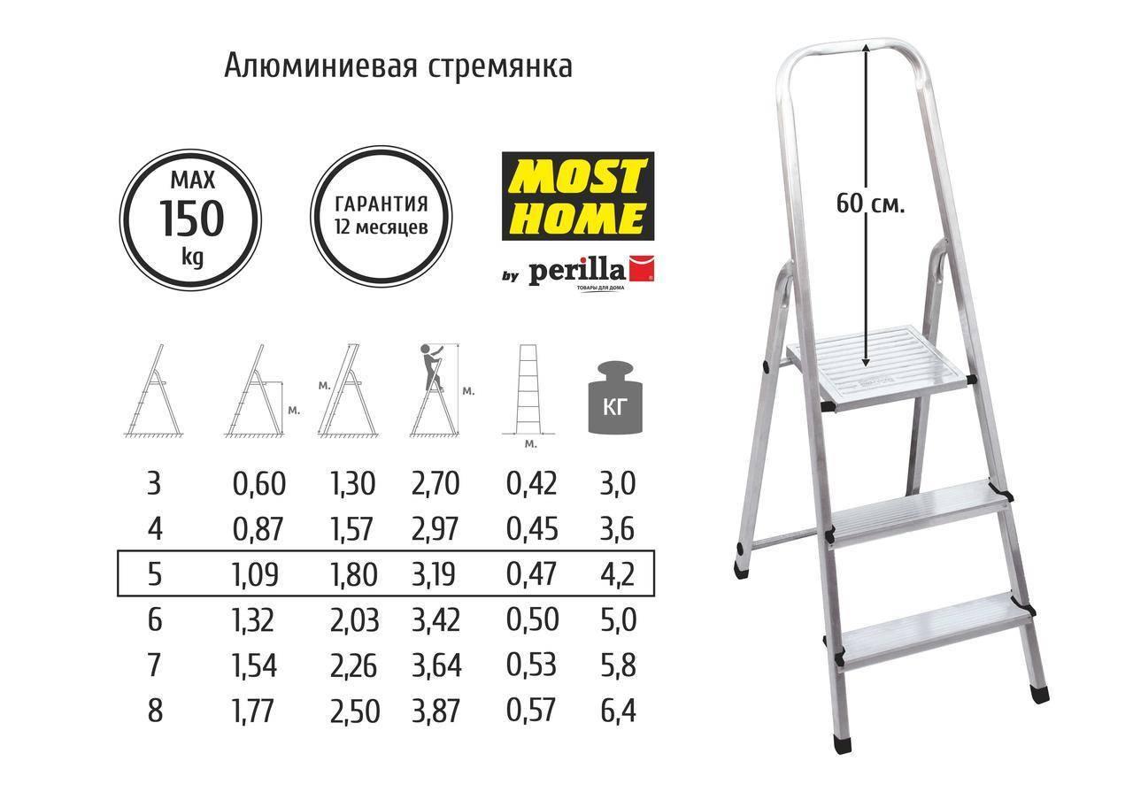 Разновидности алюминиевых стремянок по количеству ступеней и как выбрать