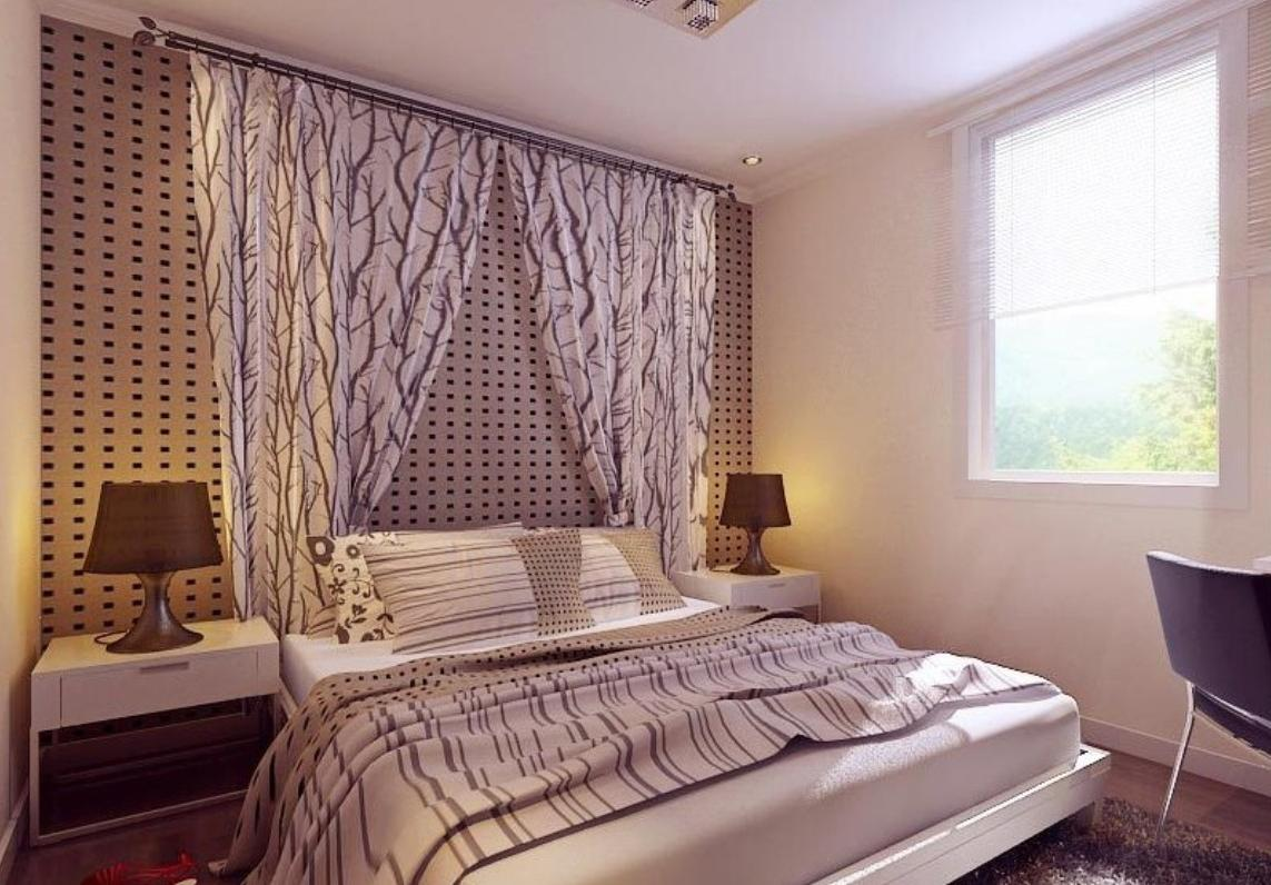 как оформить окно в спальне шторами фото идет