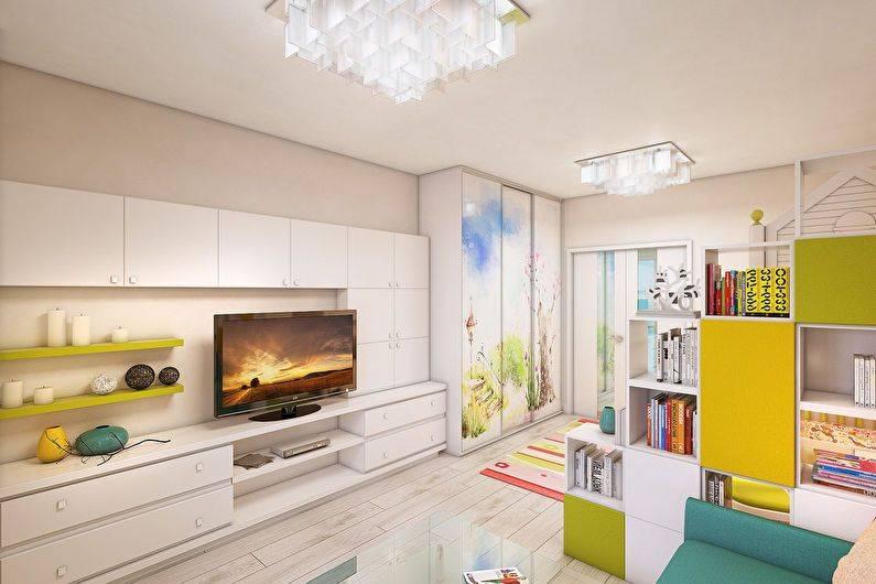 Гостиная и детская в одной комнате (56 фото): зонирование совмещенной гостиной площадью 18 кв. м, дизайн интерьера с разделением на две зоны