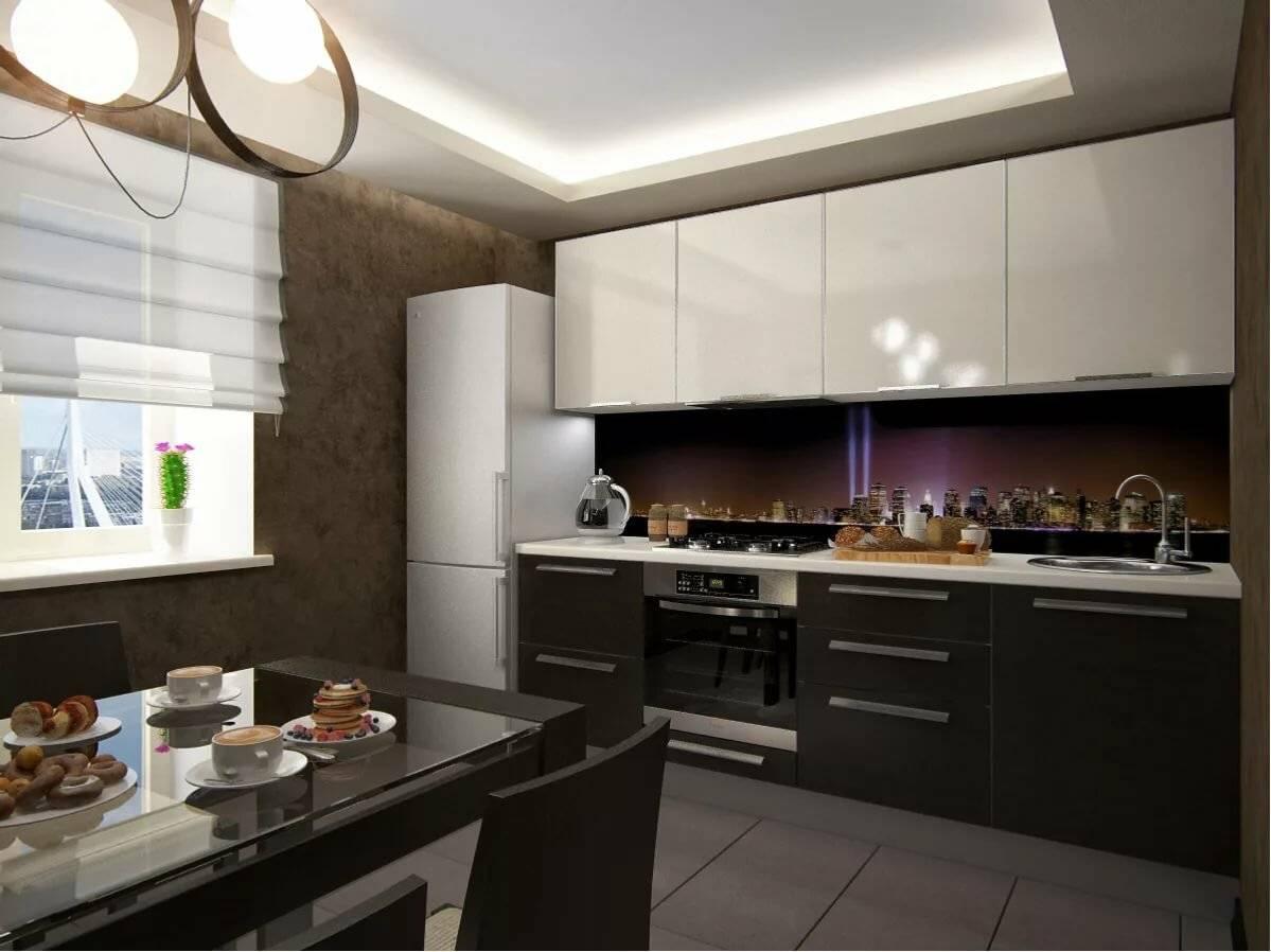 дизайн бело коричневой кухни фото ночные морской