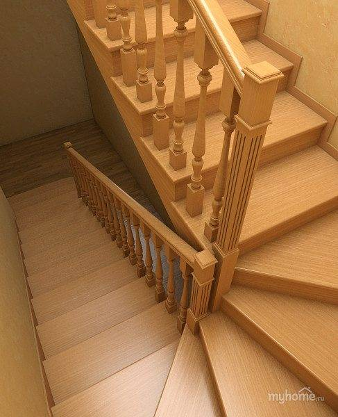 Фото деревянной лестницы с поворотными ступенями.