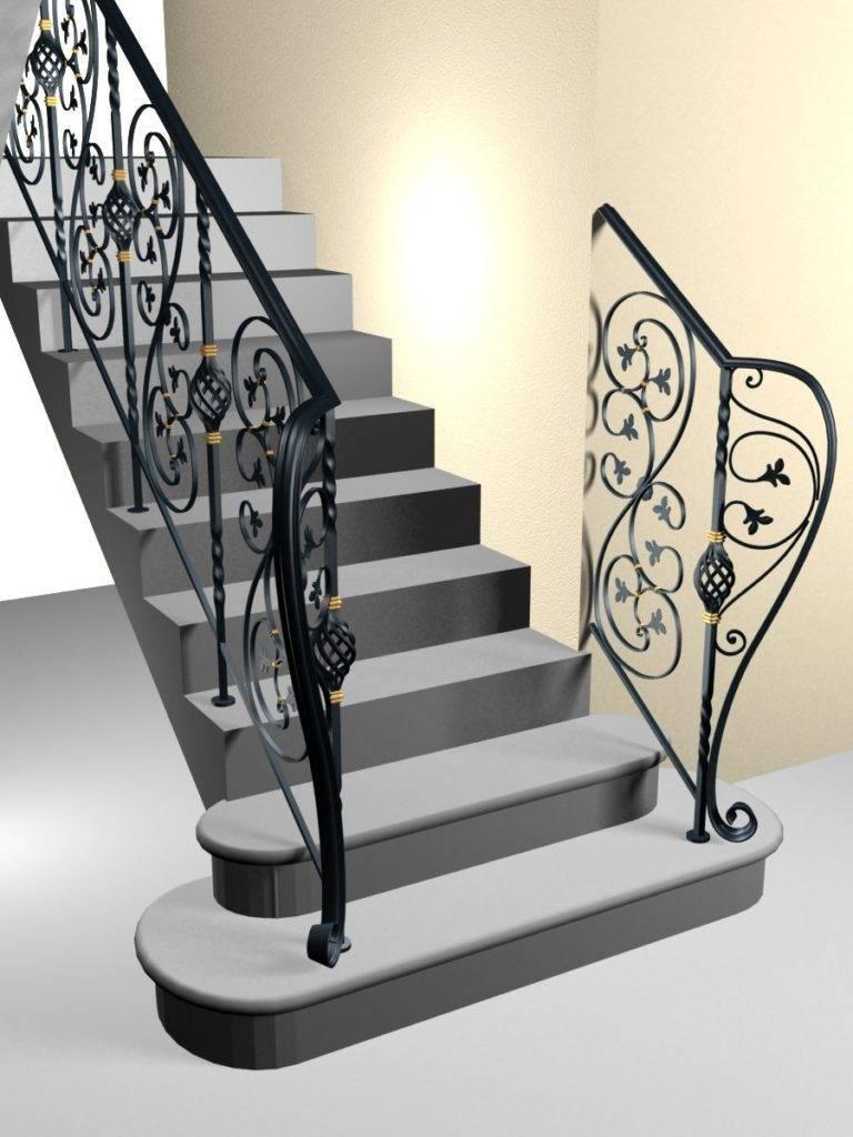 Графический проект создания лестницы с коваными элементами в виде перил