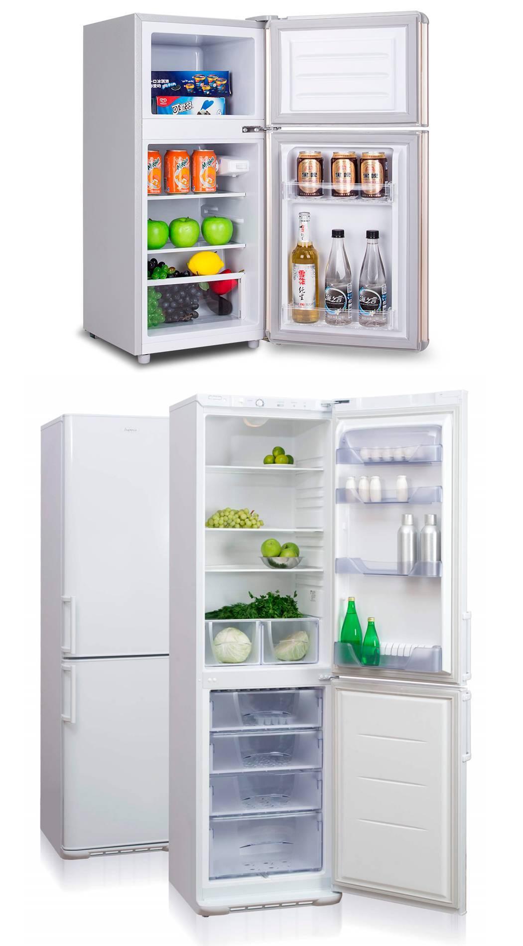 Маленький и обычный холодильник