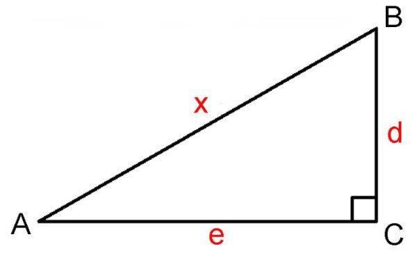Используем для вычисления прямоугольный треугольник