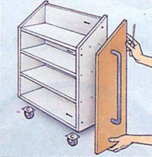 Крепление декоративной дверки к выдвижному ящику