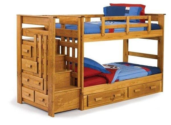 """Кровать двухъярусная с лестницей-комодом """"Бонн"""". Общая длина - 2550 мм, длина спального места 1900 мм."""