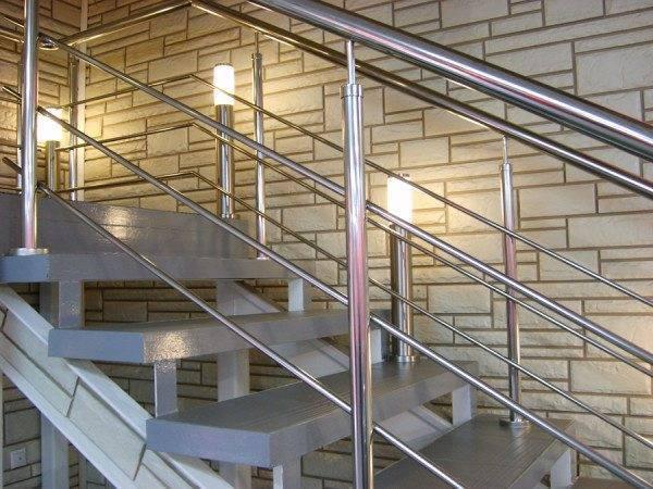 Лестничные ограждения из нержавейки в помещении