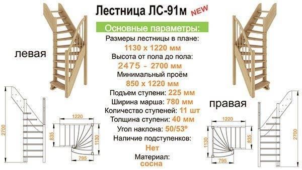Лестница ЛС 91м левозаходная и правозаходная