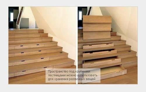 Любительское фото, показывающее устройство лестничного марша с размещенными в нем ящиками