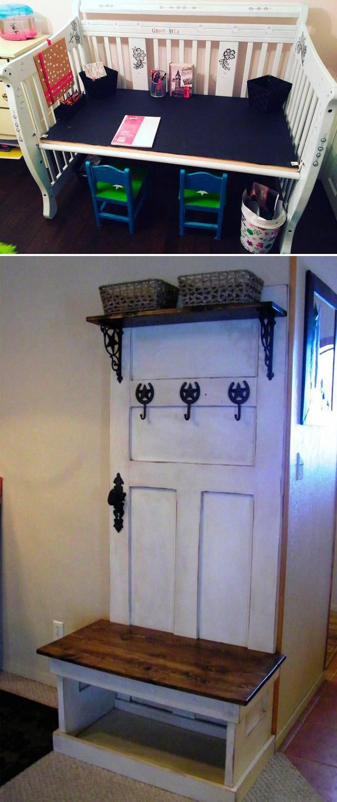 Применение старой кроватки и дверей шкафа