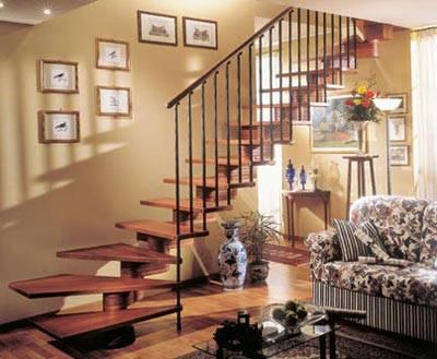 Модульная лестница - мечта любой хозяйки, способной так гармонично вписать стандартную конструкцию в существующий интерьер