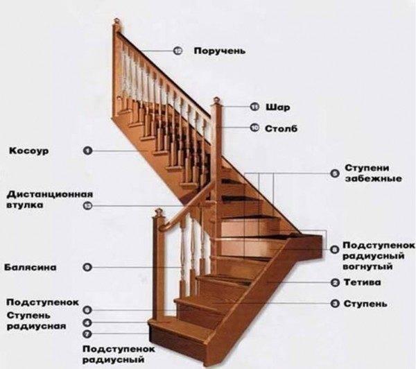 На фото можно рассмотреть, какие элементы могут присутствовать в лестничной конструкции