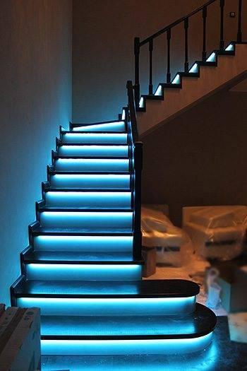 Подсветка лестницы светодиодной лентой своими руками фото 72