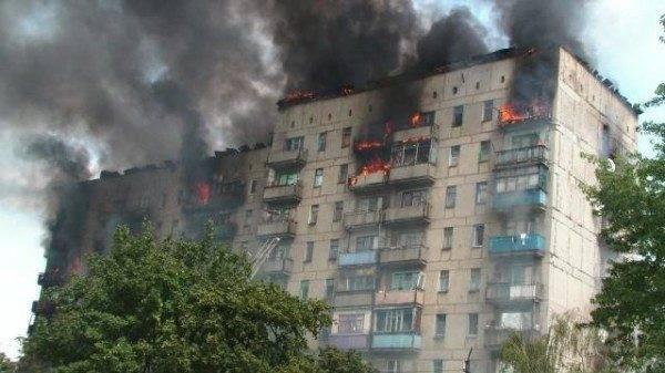 Пожар в девятиэтажке