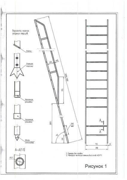 При высоте от 5 метров наклонная лестница снабжается ограждением.