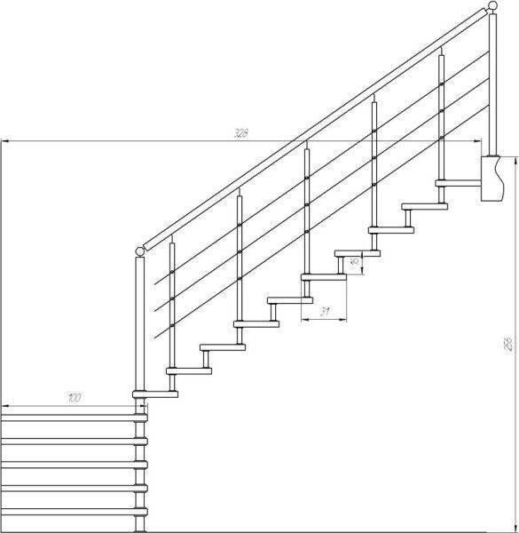 Простейший пример чертежа лестницы, раскрывающий все вопросы.