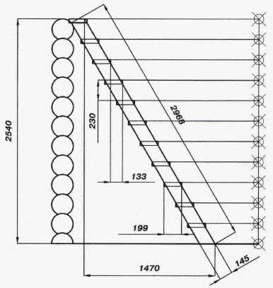 Пути на чердаки и в подвалы и в этом случае стоят особняком. Как видите, этот чертеж чердачной лестницы указывает ширину проступи всего в 199 мм при высоте ступени 230.
