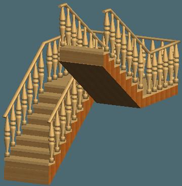 Расположение балясин на деревянной лестнице