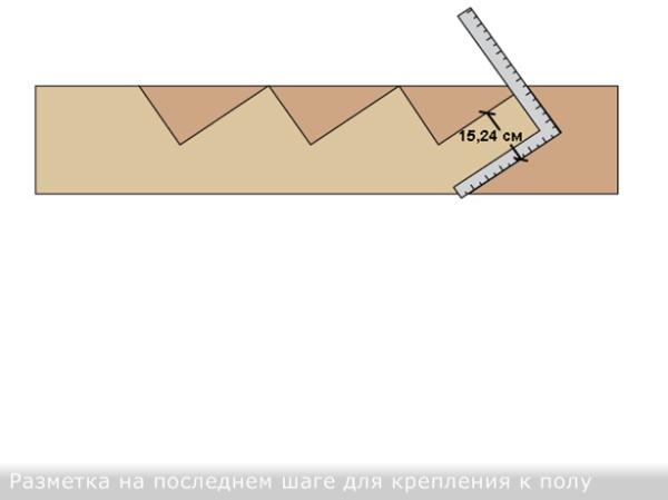 Размечаем угольником нижний шаг под стыковку с полом