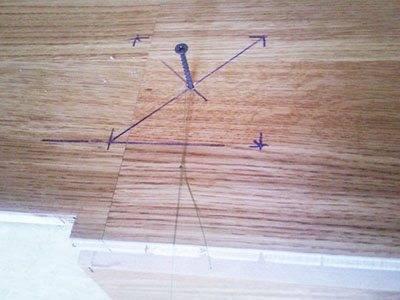 Разметка ступеней с помощью натянутой нити