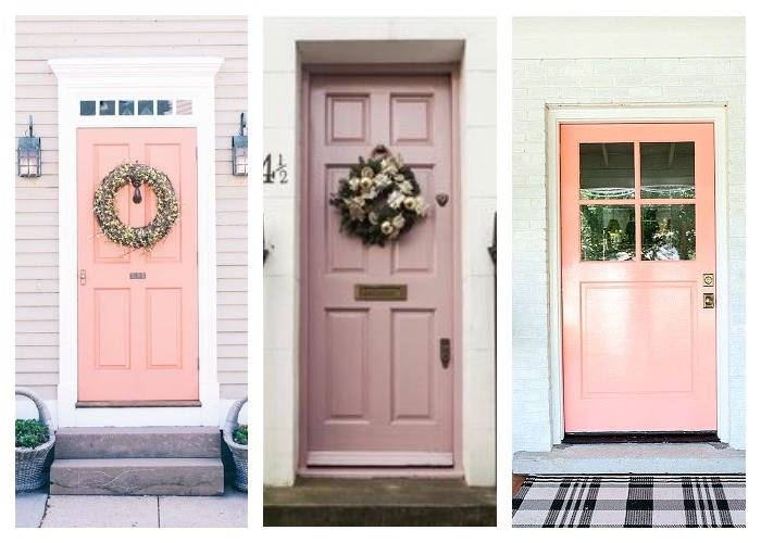 Розовая дверь на даче