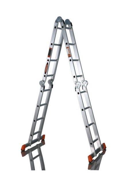 Шарнирная лестница трансформер алюмет 4х4 – качественная профессиональная конструкция.