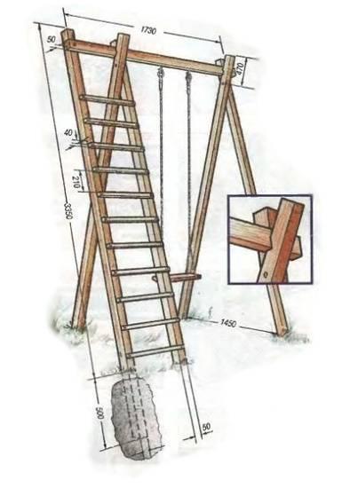 Схема деревянных качелей и лесенки.