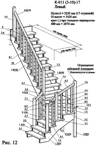Схема для сборки серийной деревянной лестницы