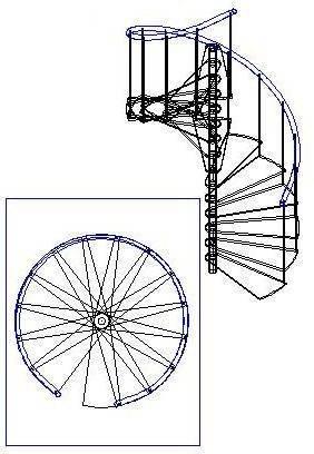 Схема расположения ступеней на винтовой лестнице