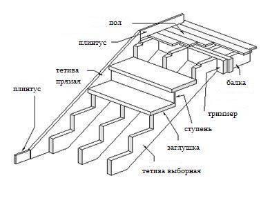 Схема устройства прямой лестницы на тетивах