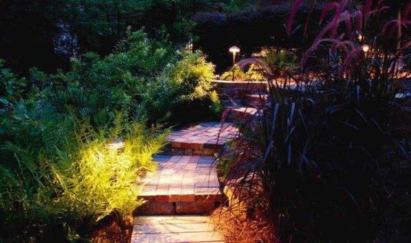 Скрытые садовые лампы на солнечных батареях