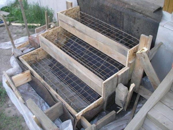 Специальная опалубка для заливки бетонных ступеней