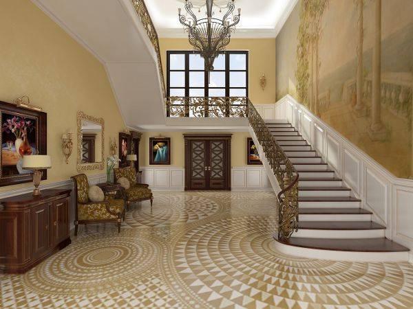 Такой роскошный холл в доме с лестницей не часто встретишь