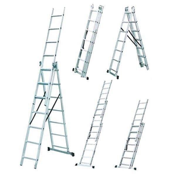 Типовая лестница из трех секций позволяет добиться максимального результата благодаря разнообразию своих вариантов установки
